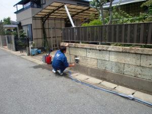 水性防水剤Water Proofを大谷石に塗布