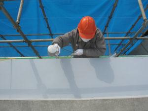 建物全面に触媒塗料フェイスガードアウト200Sを塗布
