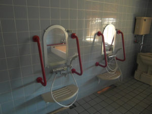 タイル壁の洗い場
