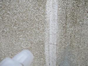 噴霧器で砂岩石への水の浸透を確認しました