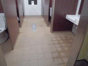 水洗い乾燥後、床面に水性防水剤で目地を防水