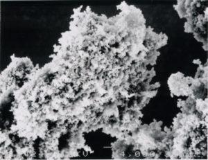 紫外線に反応するフッ化アパタイトが二酸化チタンに針状に被覆されています