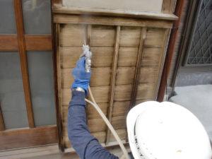 シミ抜き用洗浄剤S4を塗布して直ちに水洗いでシミ抜き