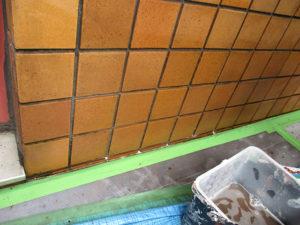 洗浄後、美観を取り戻した水を吸いこんだタイル壁面