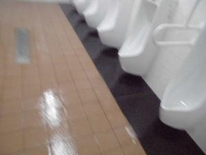 洗浄後、床と目地を防水しました