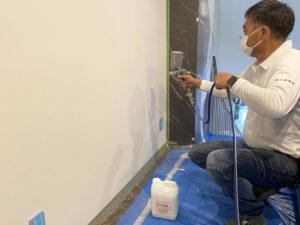 消毒後、光触媒塗料フェイスガード-インアタックを満遍なく塗布しました。