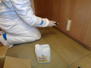 抗菌塗料フェイスガード・インーアタック2Wを塗布