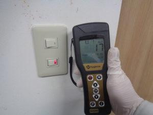 スイッチには消毒後、予防の抗菌塗装