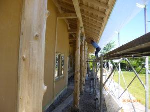 カビ、アク、シミ抜き後の美観の木造建築にWG3スーパーシールドを塗装